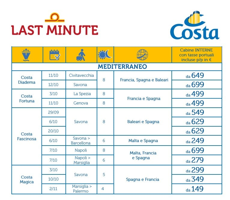 le nuove last minute di Costa